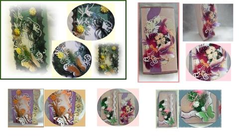 Kartenvariationen mit Präge-und Stanzteilen in Kombination mit Federn und floristischen Elementen