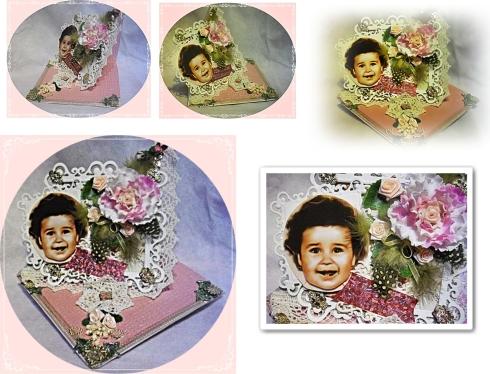 Easelcard mit Spitzenborde, Stanzteilen, Federn, Stoff- und Papierblüten,Foto in 3D, Schmucksteinen undMessingelementen
