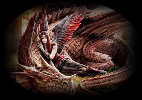 brauner drache mit dragonangel