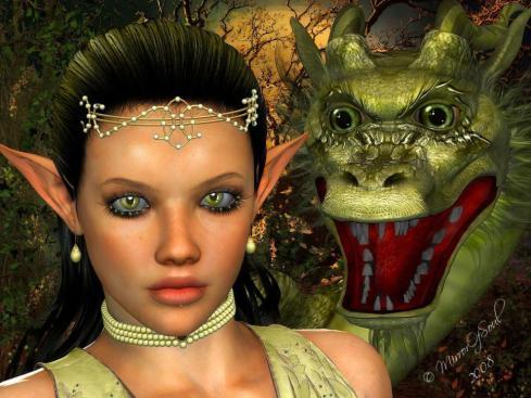 grüner drache mit großer Elfe